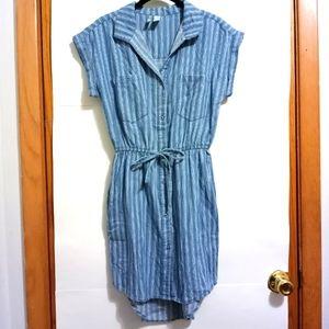 Japna Handmade Striped Cap Sleeve Shirt Mini Dress